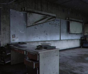 abandoned, desk, and classroom image