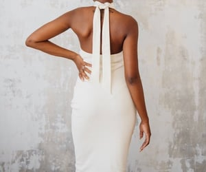 dress, open back, and minimalistic image