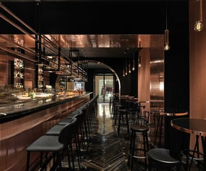 brown, interiors, and restaurant image
