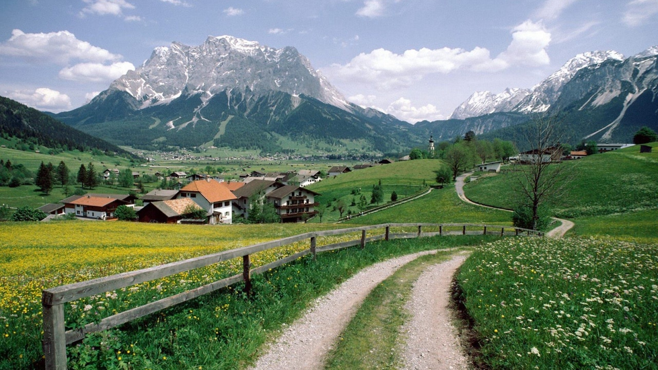 green, Houses, and landscape image