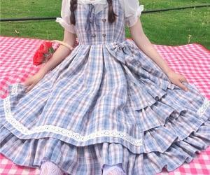 dress, kawaii, and plaid dress image