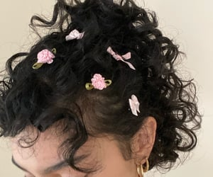 bow, curly hair, and fashion image