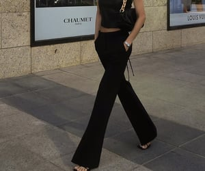 everyday look, black crop top, and fashionista fashionable image