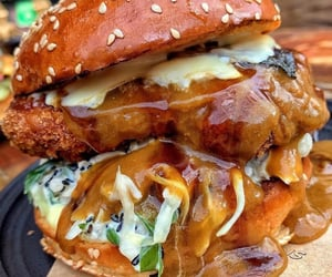 burger, Chicken, and curry image