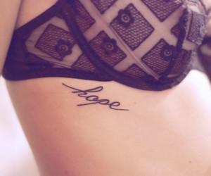 tattoo, hope, and bra image