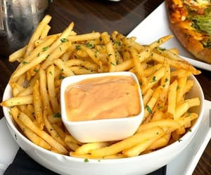 food, fries, and restaurant image