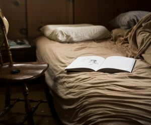 bed, book, and night image