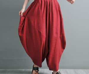 etsy, wide leg pants, and bohemian linen pant image