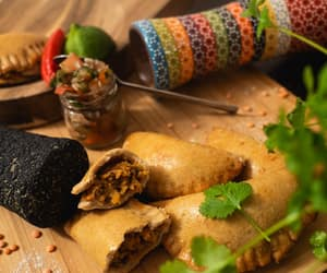 food photo, something to eat, and empanada image