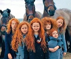 horse, redhead, and child image