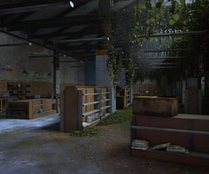 abandoned, dystopian, and bookcases image