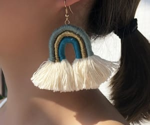 fashion, tassel earrings, and rainbow earrings image
