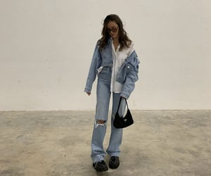 cropped denim jacket, white button up, and everyday look image