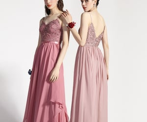 evening wear, bridesmaid dress, and spaghetti straps image