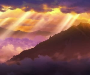 clouds, golden, and mist image