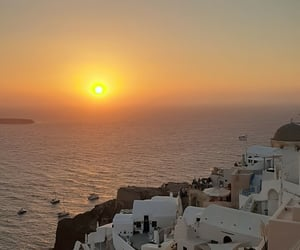 santorini, sunrise, and travel image