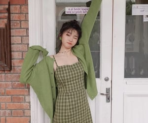 cardigan, dress, and green dress image