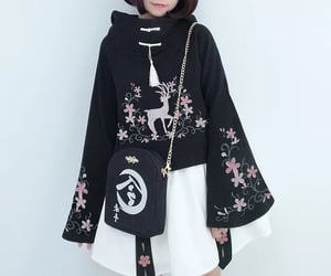 black, flower embroidery, and black coat image