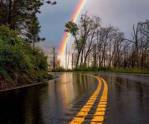 rainbow, nature, and rain image