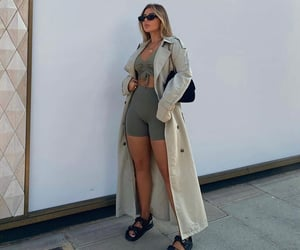everyday look, beige trench coat, and green shorts image