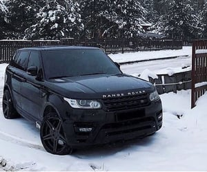 black, range rover, and winter image