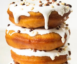 food, icing, and donuts image