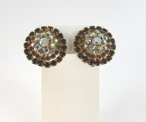 gold, clip on earrings, and topaz earrings image