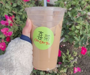 brown, bubble tea, and cafe image