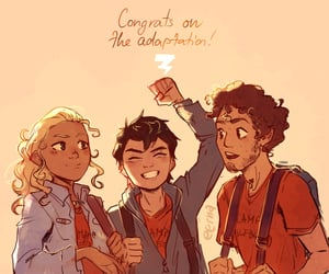 grover, annabeth chase, and percy jackson image