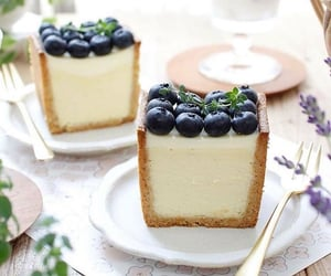 blueberry, cake, and coffee image
