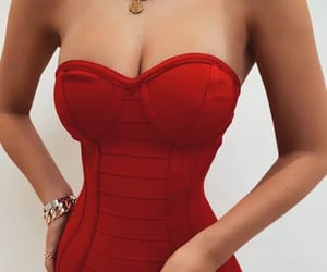 red dress, sexy dress, and elegant dress image