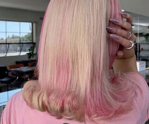 blonde, hairstyle, and pink image