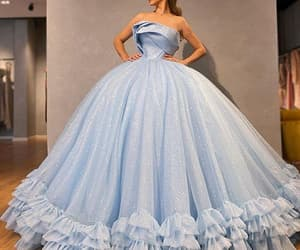 blue prom dress, vestido de longo, and robe de soirée image