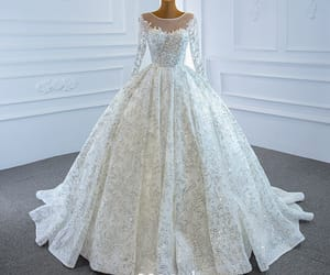 Luxury / Gorgeous White Bridal Wedding Dresses 2020 Ball Gown See-through Scoop Neck Long Sleeve Beading Sequins Court Train Ruffle