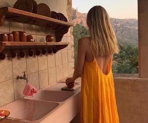 dress, kitchen, and orange image
