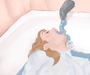 art, bathtub, and drawings image
