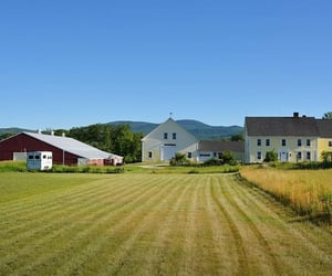 barn, farmhouse, and stables image