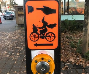 crosswalk, witch, and Halloween image