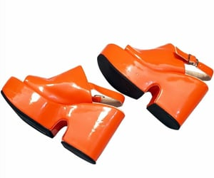 orange, patent leather, and shoes image