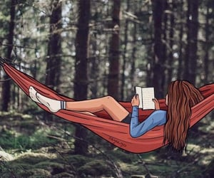 hammock, woods, and relax image