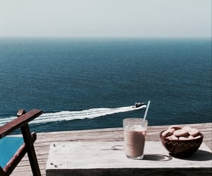 beach, coffee, and vacation image