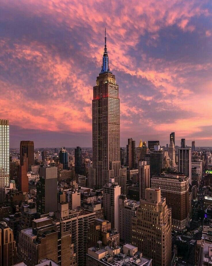 nyc, city, and sunset image