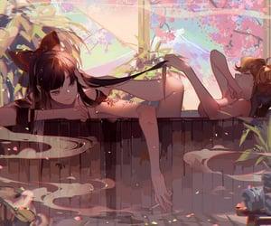 bath, illustration, and onsen image