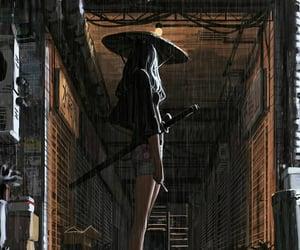 girl, illustration, and rain image