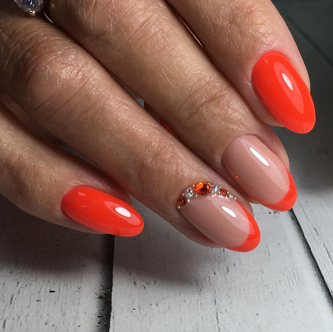 nail polish, nails, and orange image