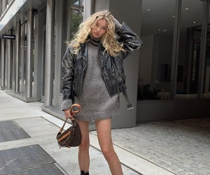 fall, leather jacket, and fall outfit image