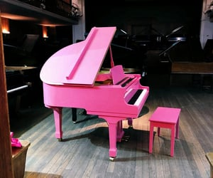 music, piano, and pink image