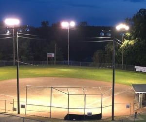 baseball, night, and baseball field image