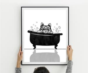 Cat Face, christmas gift, and black watercolor image