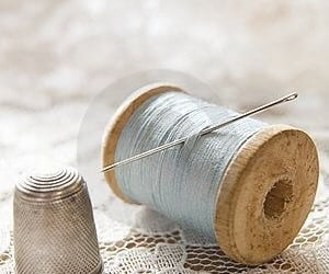 aesthetic, blue, and sewing image
